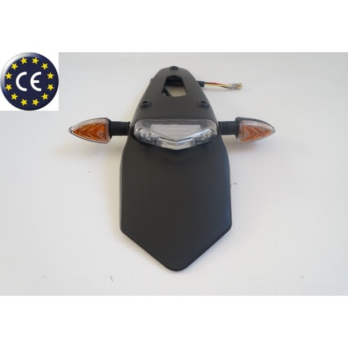 Portatarga parafango universale con luce targa omologata per moto enduro