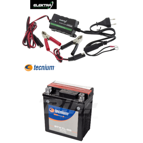TECNIUM BATTERIA Senza Manutenzione con Acido YTX7L-BS - 12V 6Ah + Caricabatterie Mantenitore Elektra