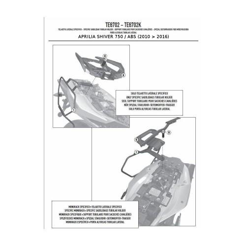 BORSE LATERALI EA101B TELAIETTI TE6702 APRILIA SHIVER 750 2014 GIVI