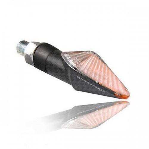 BARRACUDA Frecce Indicatori di Direzione a Lampada Carbon Look MINI VIPER a gambo corto