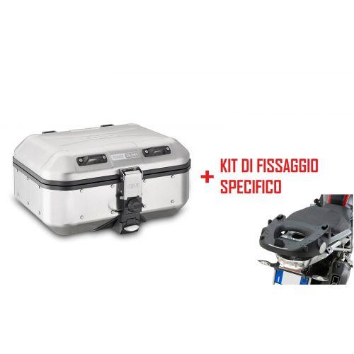 Valigia posteriore MONOKEY Trekker Dolomiti GIVI in alluminio 30 litri + Attacco per BMW R 1200 GS 2013 / 2018 - R 1250 GS 2019