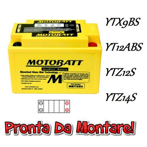 MOTOBATT BATTERIA Senza Manutenzione Sigillata Attiva YTX9-BS / YT12A-BS / YTZ12S / YTZ14S 12V 10Ah